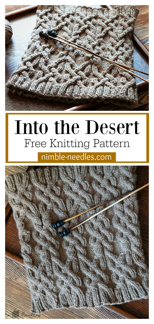 Into the Desert Cable Cowl Free Knitting Pattern