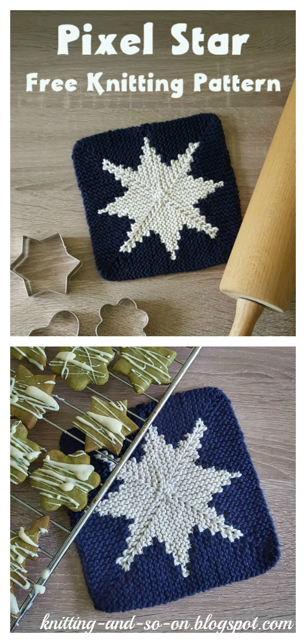 Pixel Star Potholder Free Knitting Pattern