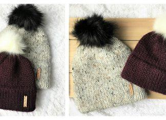 Simple Double Brim Beanie Hat Free Knitting Pattern