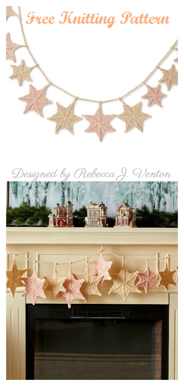 Star Light Garland Free Knitting Pattern