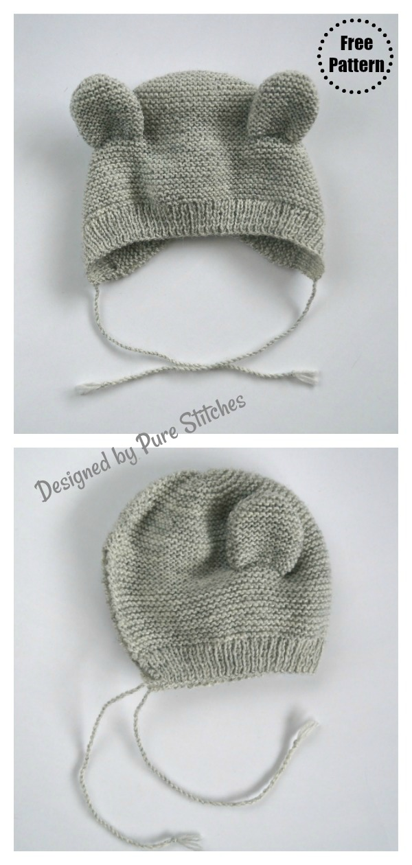 Bear Baby Bonnet Free Knitting Pattern