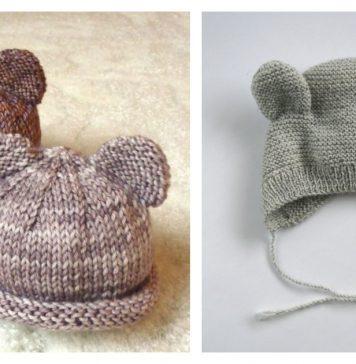 Bear Baby Hat Free Knitting Pattern