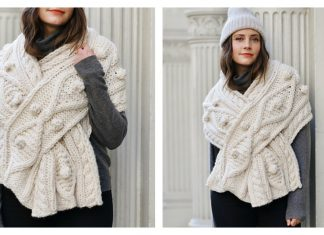 Cable Keyhole Wrap Free Knitting Pattern