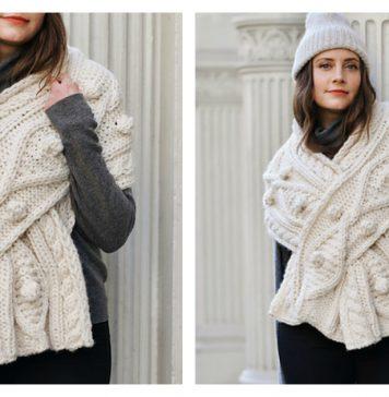 Cable Keyhole Wrap Free Knitting Pattern