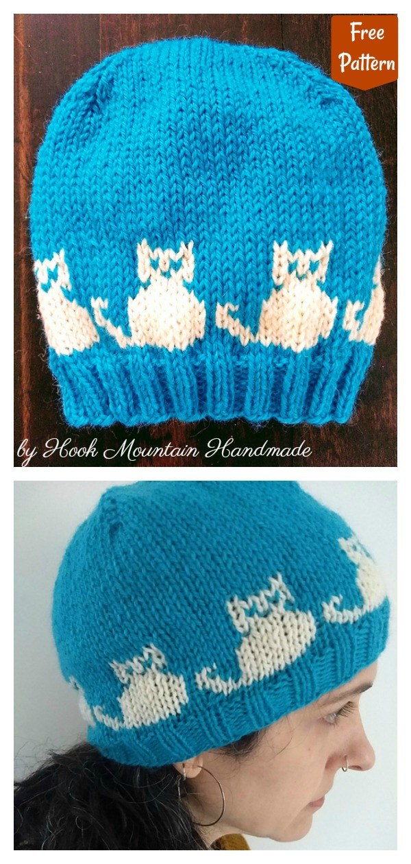 Cats Beanie Hat Free Knitting Pattern