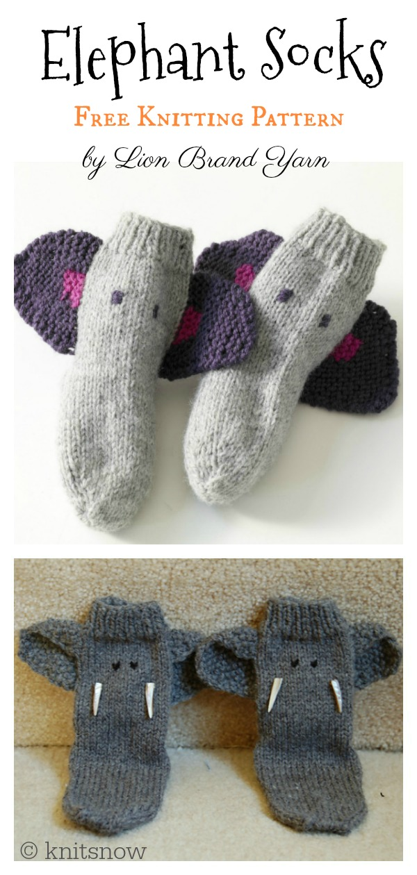 Child's Elephant Socks Free Knitting Pattern