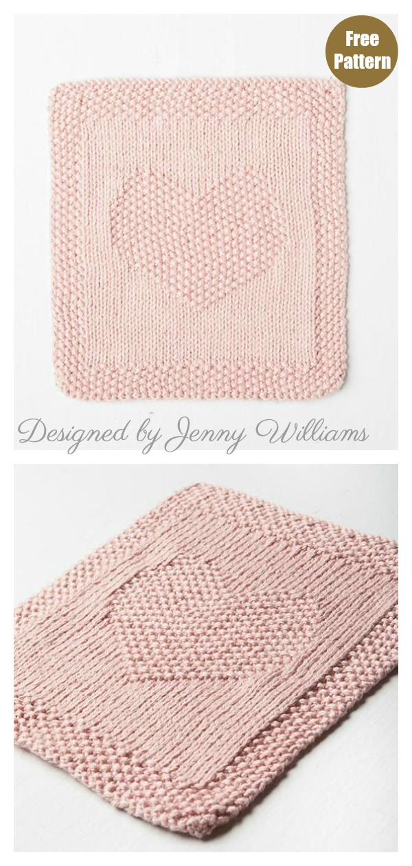 Heart Baby Cloth or Blanket Blocks Free Knitting Pattern
