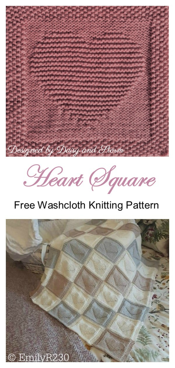 Heart Dishcloth or Afghan Square Free Knitting Pattern