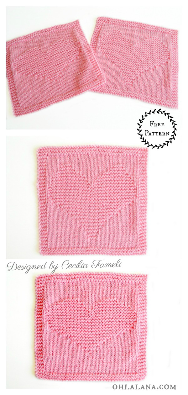 Heart Dishcloth or Blanket Blocks Free Knitting Pattern