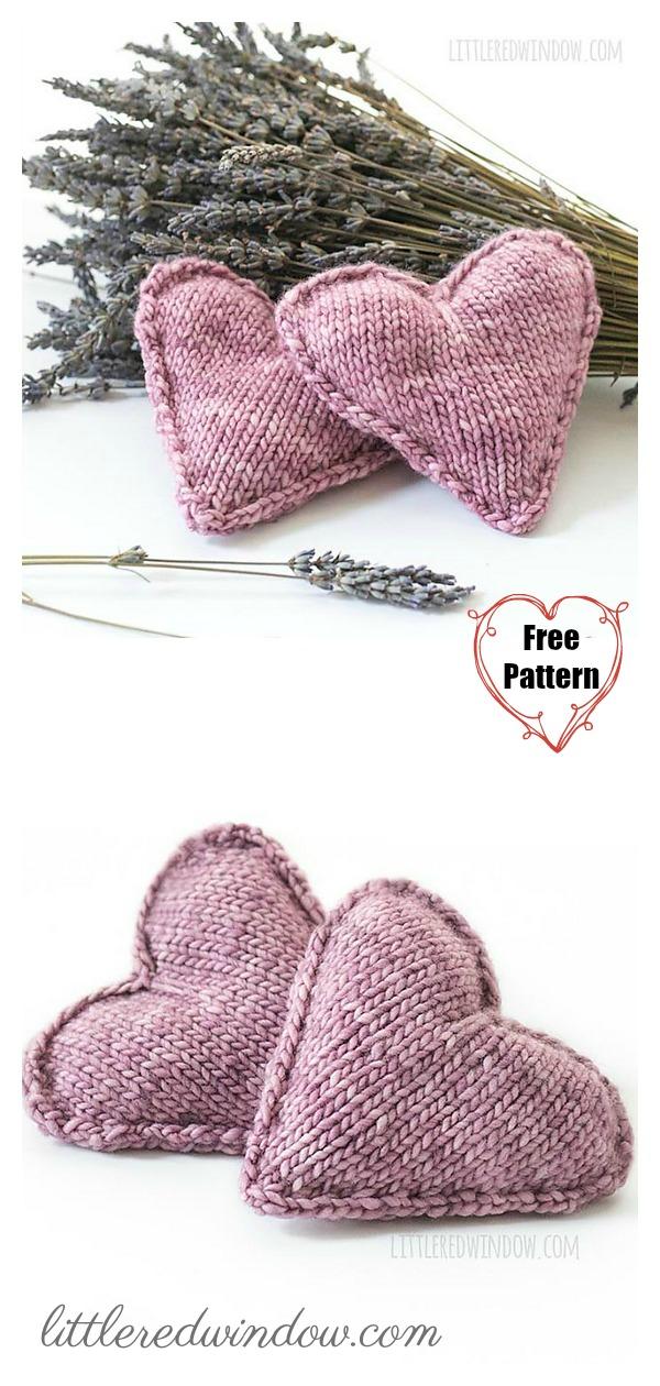 Heart-Shaped Lavender Sachet Free Knitting Pattern