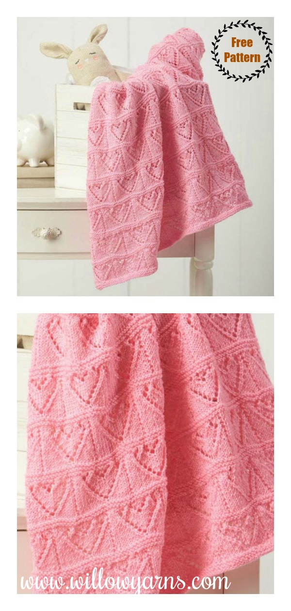 Lace Hearts Baby Blanket Free Knitting Pattern