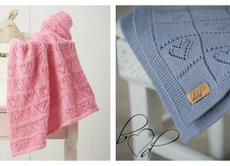 Lace Hearts Baby Blanket Free Knitting Pattern and Paid