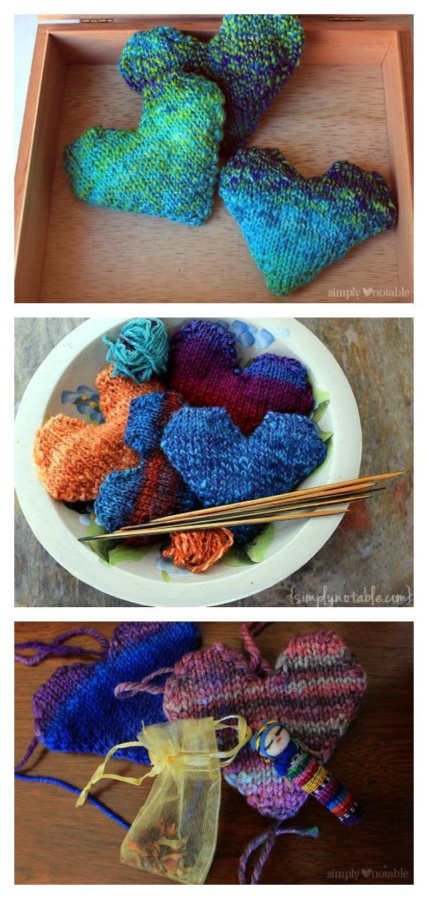 Herb Filled Heart-Shaped Sachet Free Knitting Pattern