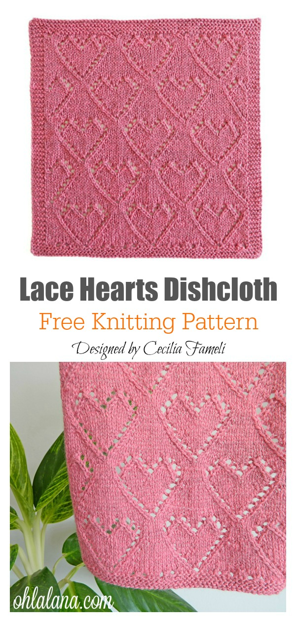 Lace Hearts Dishcloth or Blanket Blocks Free Knitting Pattern