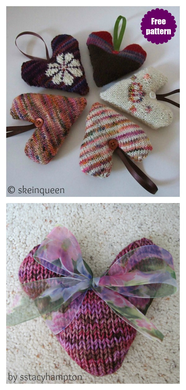 Lavender Hearts Free Knitting Pattern