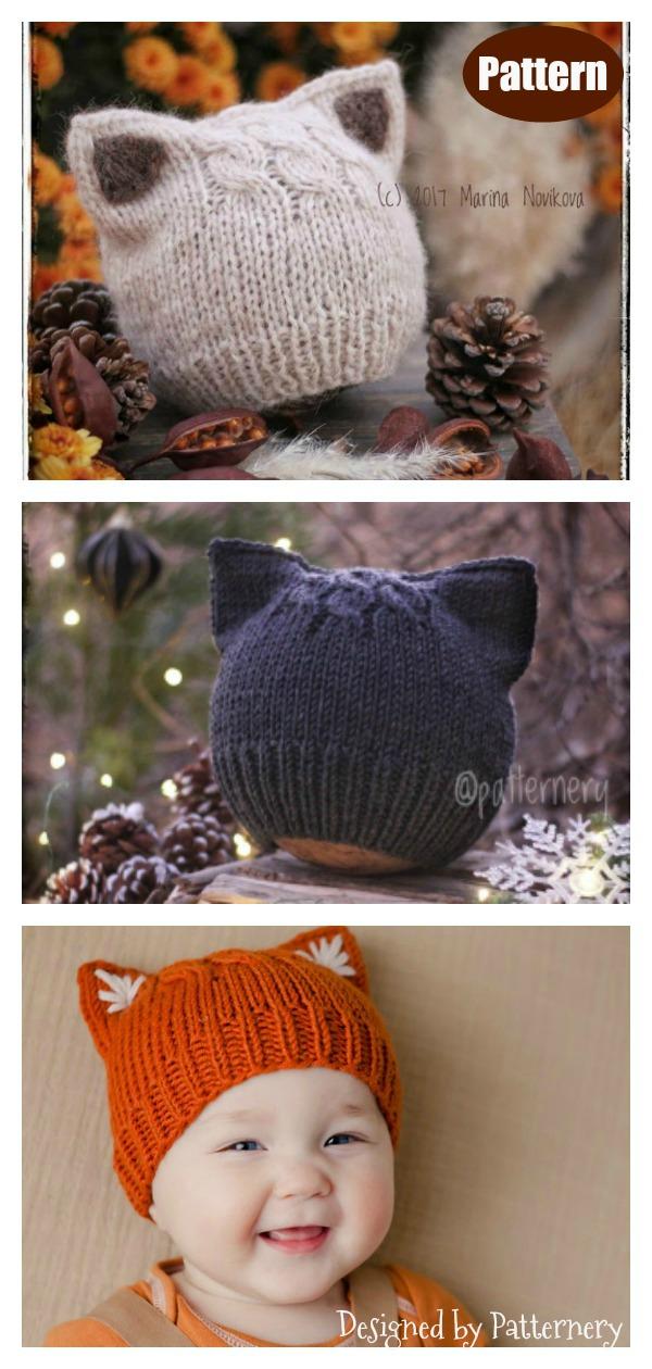 Simple Kitten or Fox Ears Beanie Hat Knitting Pattern