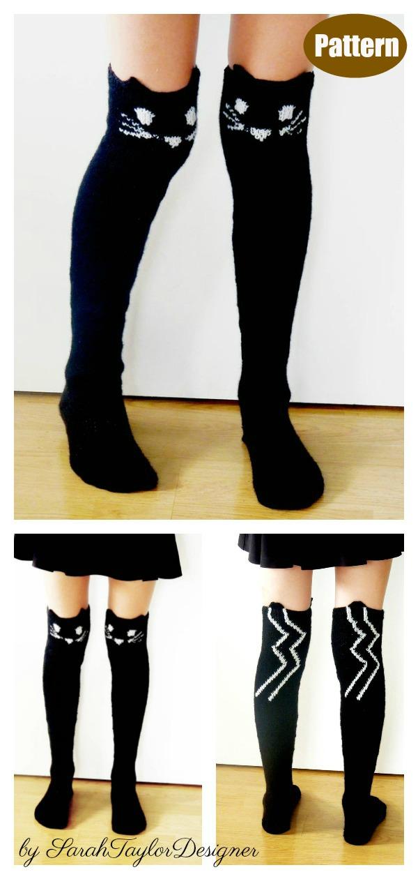 Thigh High Cat Socks Knitting Pattern
