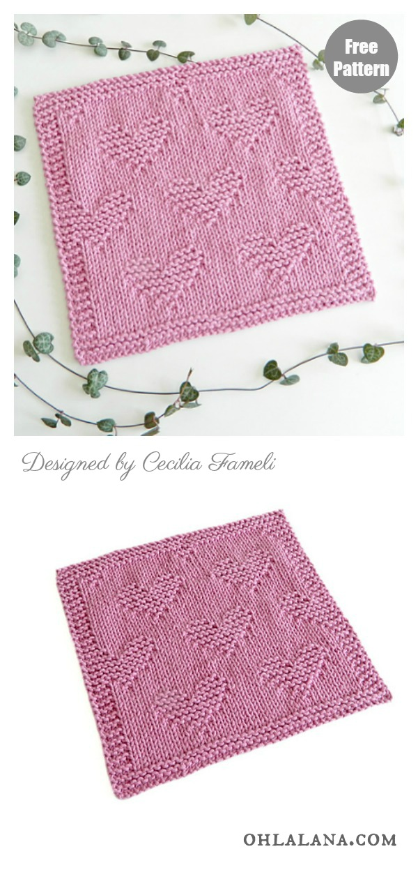 Valentines Heart Dishcloth or Blanket Block Free Knitting Pattern