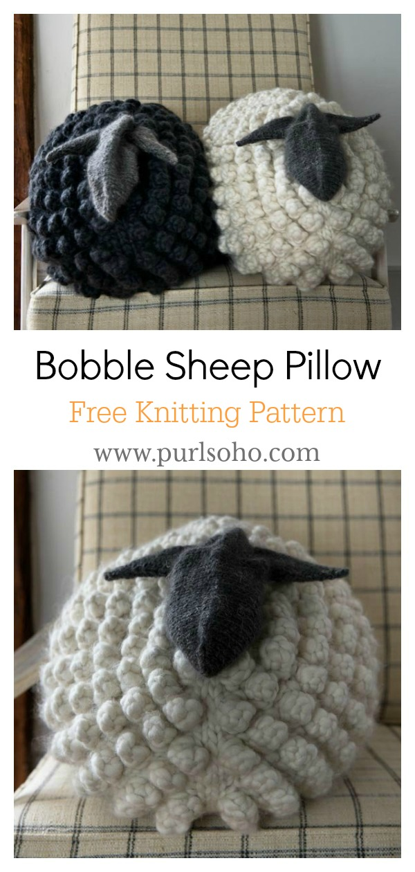 Bobble Sheep Pillow Free Knitting Pattern