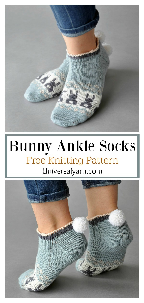 Bunny Ankle Socks Free Knitting Pattern