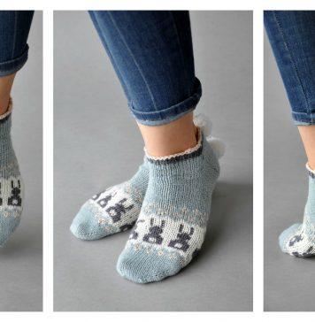 Bunny Ankle Socks Free Knitting Pattern