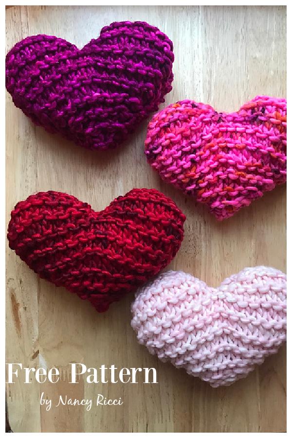 Chubby Garter Stitch Heart Free Knitting Pattern