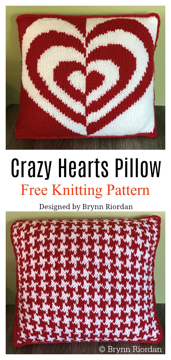 Crazy Hearts Pillow Free Knitting Pattern