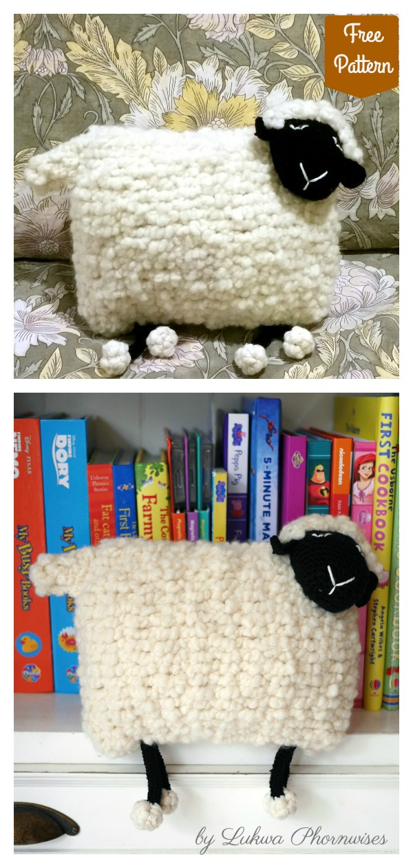 Fluffy Sheep Cushion Free Knitting Pattern