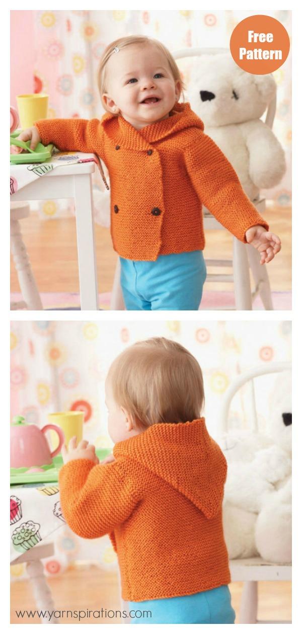 Garter Stitch Hooded Baby Jacket Free Knitting Pattern