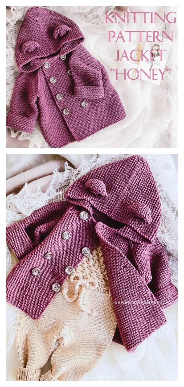 Garter Stitch Hooded Jacket Knitting Pattern