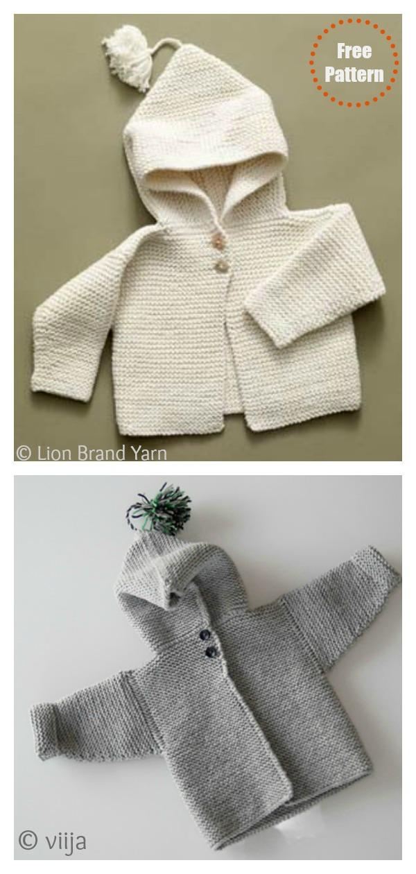 Garter Stitch Tied Baby Hoodie Free Knitting Pattern
