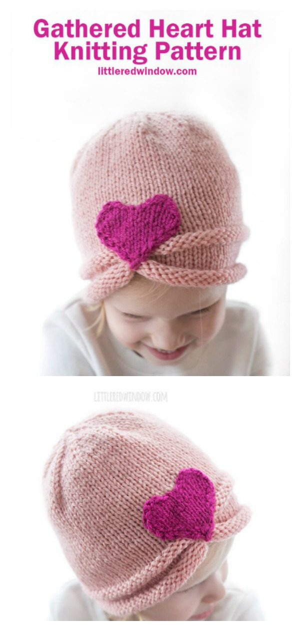 Gathered Heart Hat Free Knitting Pattern
