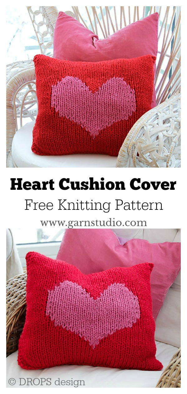 Heart Cushion Cover Free Knitting Pattern