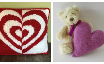 Heart Pillow Free Knitting Pattern