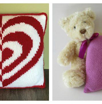 Heart Pillow Free Knitting Pattern