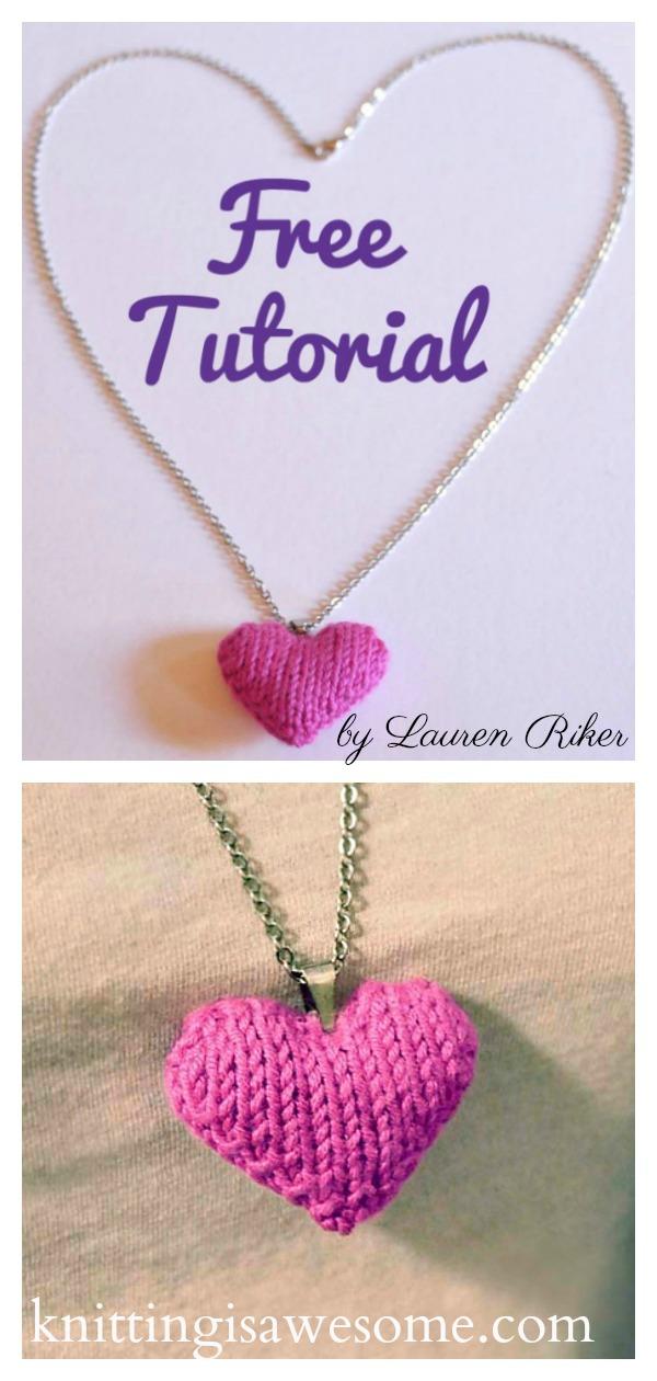 Heart Puff Necklace Free Knitting Pattern