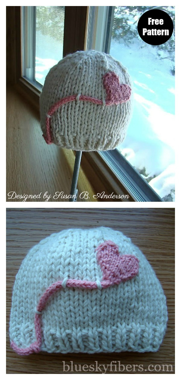 Heart on a String Hat Free Knitting Pattern