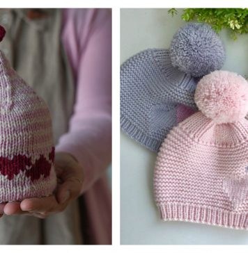 Hearts Hat Knitting Patterns