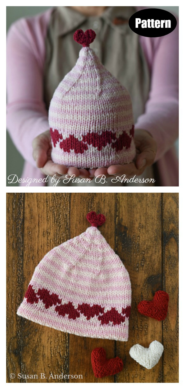 Love & Hearts Hat Knitting Pattern