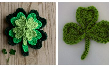 Lucky Shamrock Leaf Free Knitting Pattern and Paid