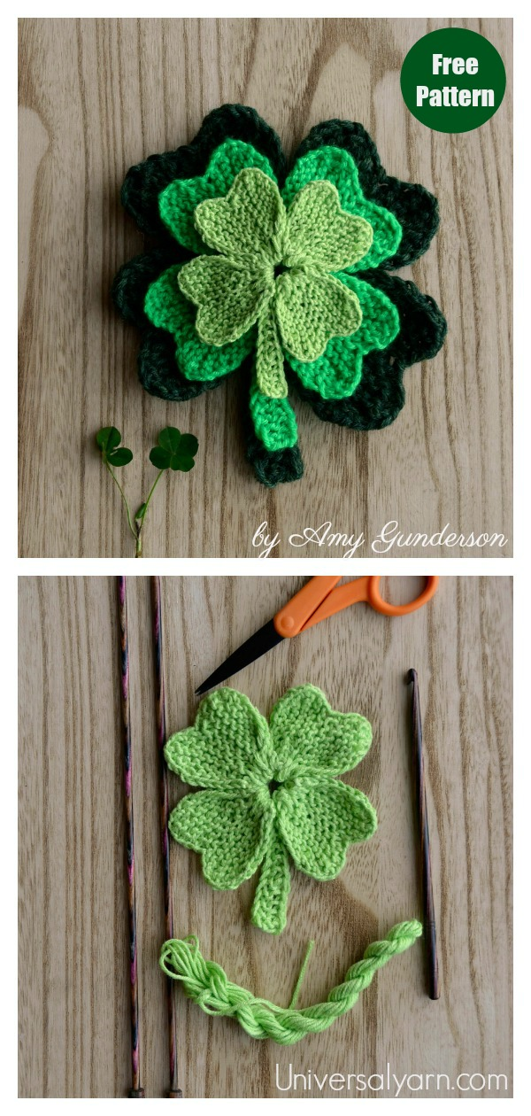 Lucky Shamrock Leaf Free Knitting Pattern