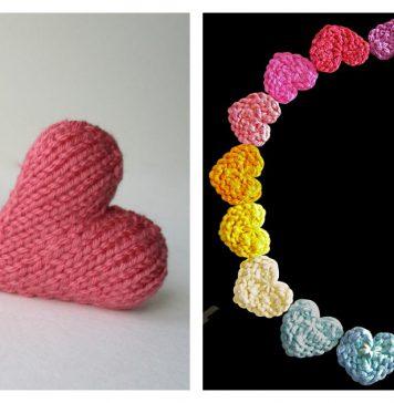 Mini Heart Free Knitting Pattern