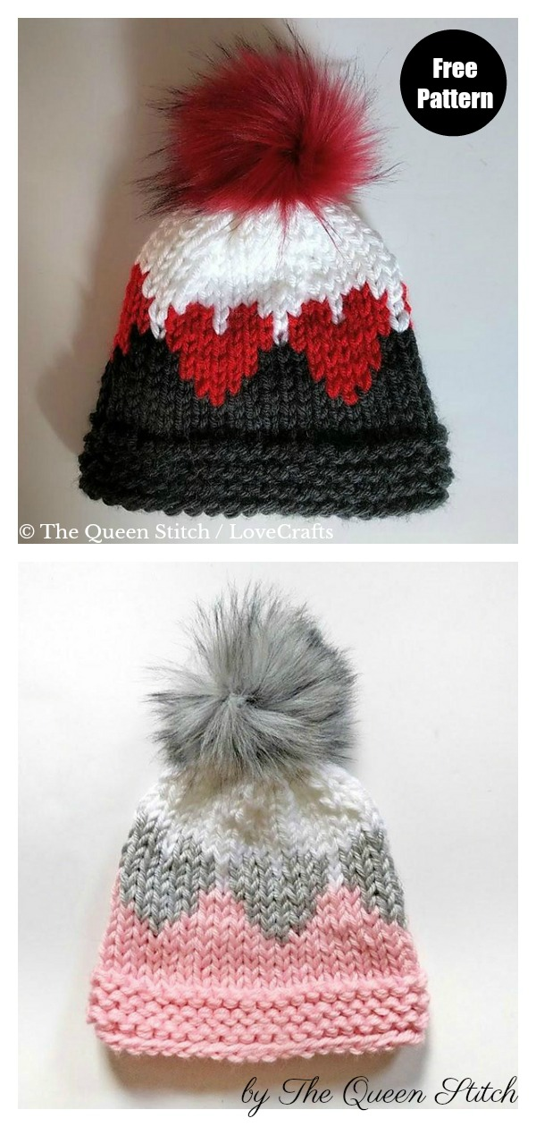 Queen of Hearts Hat Free Knitting Pattern