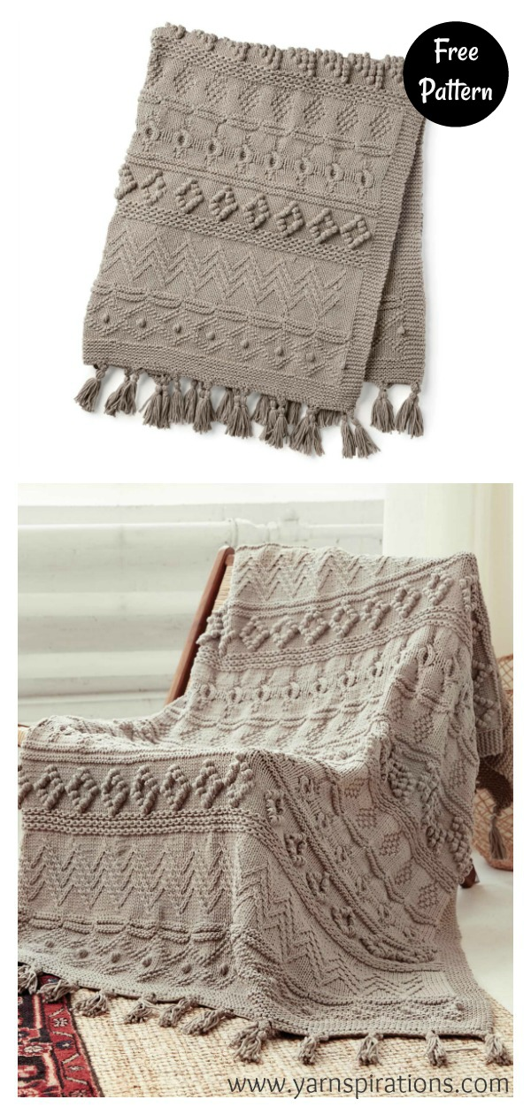 Sampler Chunky Blanket Free Knitting Pattern