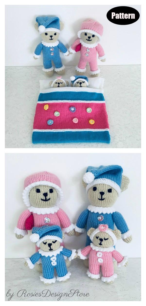 Sleepy Time Bear Family Knitting Pattern