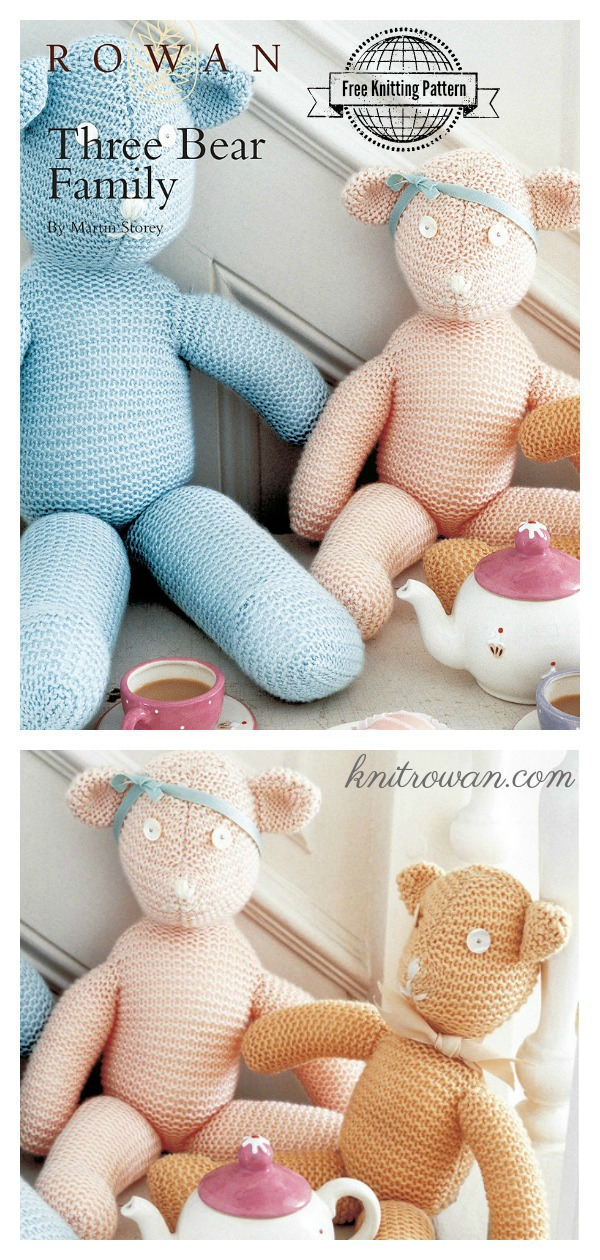 Three Bear Family Free Knitting Pattern