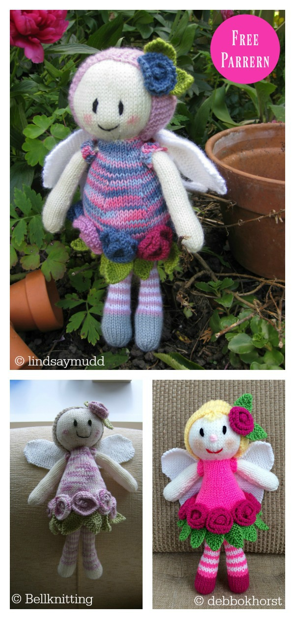 Adorable Rose Fairy Doll Free Knitting Pattern