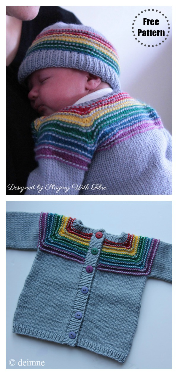 After The Storm Rainbow Cardigan Free Knitting Pattern