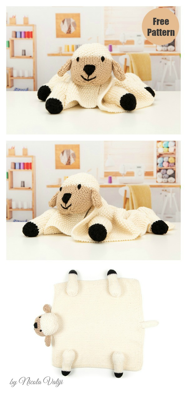 Babies Pram Lamb Lovey Blanket Free Knitting Pattern