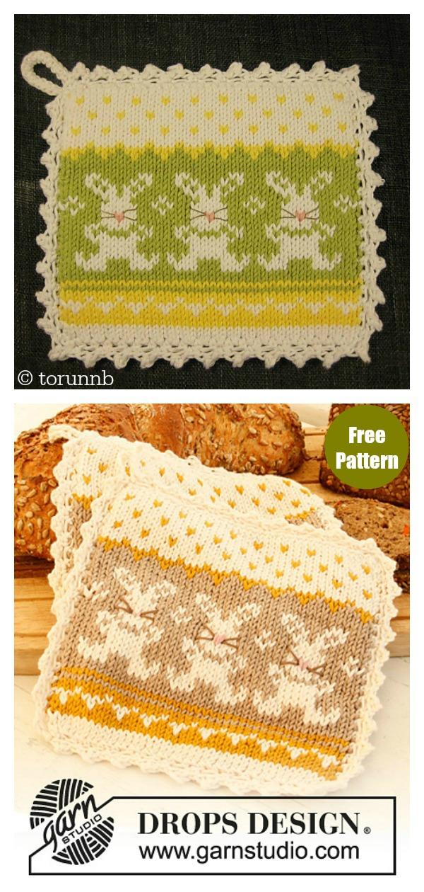 Bunny Parade Potholder Free Knitting Pattern